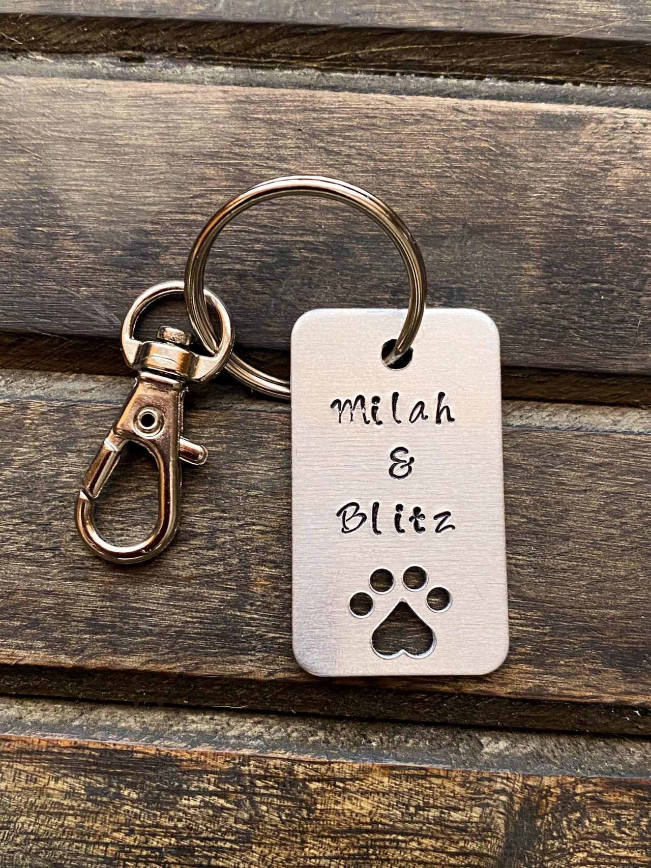 CUSTOMIZED ID KEYCHAIN, Fur Baby Key Chain, Personalized Hand Stamped Dog Tag