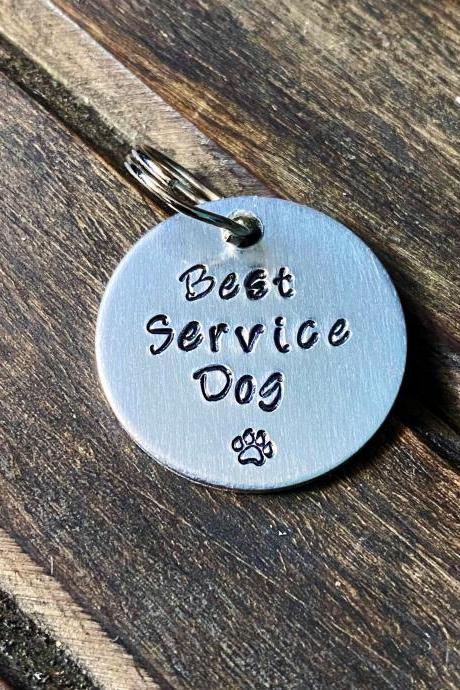 "DOG OR CAT tag, ""Best Service Dog"" tag, Hand Stamped, Collar tag"