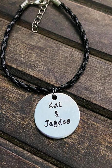 PET CHARM BRACELET, Leather Cord Bracelet, Customized Fur Baby Bracelet, Hand Stamped Gift