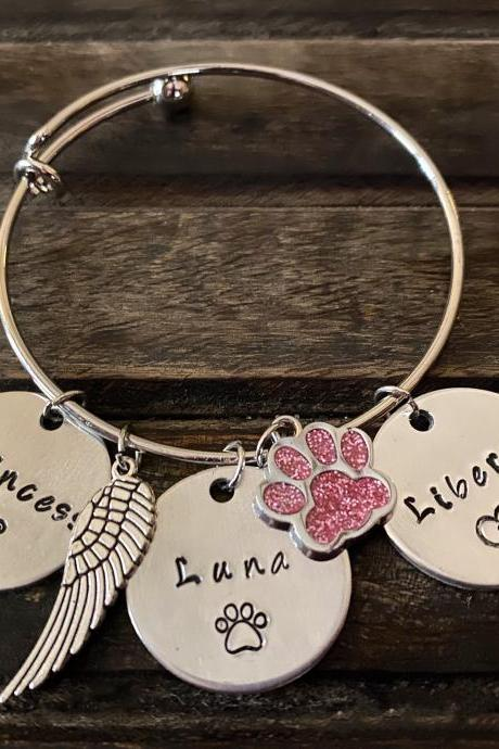 CAT NAME BRACELET, Personalized Cat Fur Baby Bracelet, Cat Mom Gift, Custom Hand Stamped Gift