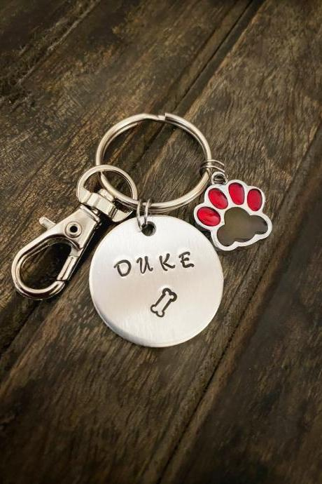 CUSTOM PET KEYCHAIN, Pet Name Keychain, Hand Stamped Keyring, Dog Bone Charm, Cat Lovers Gift, Personalize Keychain