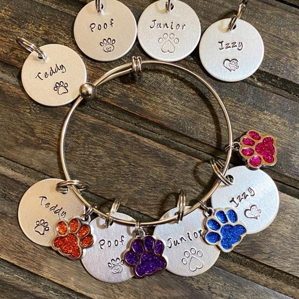 PERSONALIZED BRACELET & TAG, Combo Fur Baby Bracelet with name tag, Dog or Cat Mom gift, Custom Hand Stamped gift